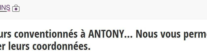 Les coordonnées des médecins généralistes à Antony, en Hauts-de-Seine, sont à retrouver sur info-medecins.fr