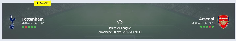 quels sont vos pronostics Tottenham /Arsenal Premier League ?